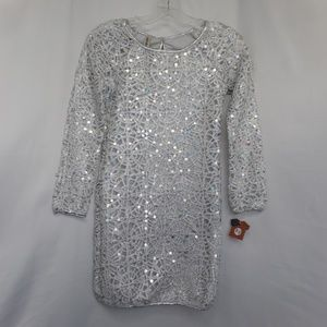 Silver sequined Party Cocktail Dress Size: 10-12